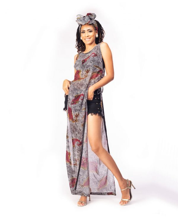 Double Side Slit Drawstring Dress with Head Wrap