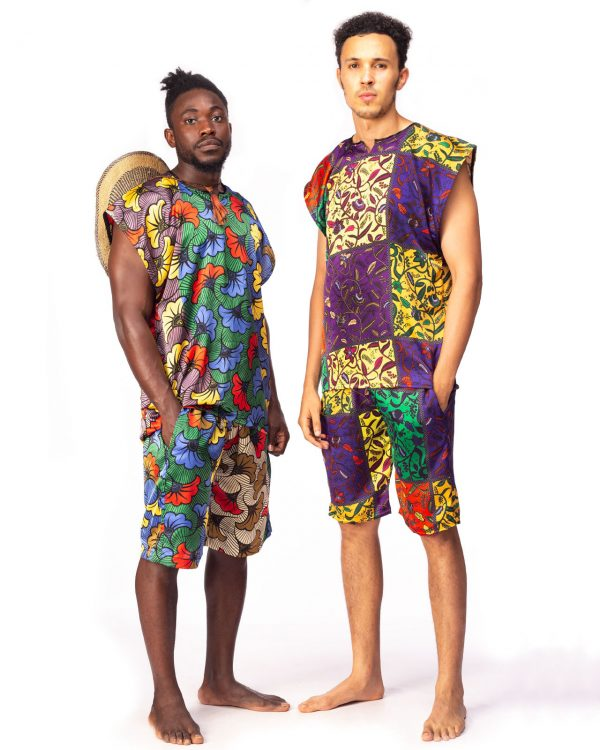 Men Summer Silk Two Piece