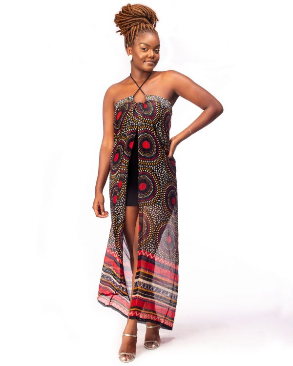 Chiffon Coverup Drawstring Dress